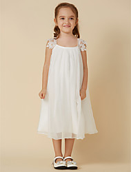 cheap -Sheath / Column Knee Length Wedding / First Communion / Holiday Flower Girl Dresses - Chiffon / Lace Sleeveless Scoop Neck with Pleats