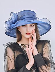 Недорогие -Жен. Kentucky Derby Классический Праздник Шляпа от солнца-Сетка Сетка,Однотонный Лето Черный Винный Белый / Ткань