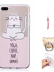 cheap -Case For Apple iPhone X / iPhone 8 Plus / iPhone 8 Pattern Back Cover Cat Soft TPU