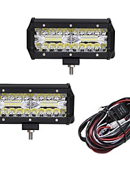 cheap -OTOLAMPARA 2pcs Car Light Bulbs 120W Integrated LED Work Light Bar Spot Flood Combo Offroad SUV ATV Driving Lamp 40LED 12000lm 6000K 1-To-2 Wiring Harness Kit