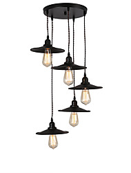 cheap -5-Light Vintage Industrial Metal Shade Cluster Chandelier 5-Head Living Room Dining Room Pendant Lamp