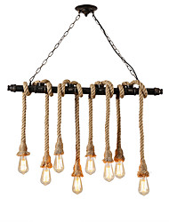 cheap -8-Light Vintage Metal Water Pipe 8-Head Hemp Rope Pendant Light Living Room Dining Room Chandelier