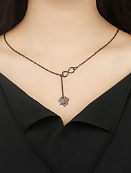 cheap -Pendant Necklace Y Necklace Floral / Botanicals Flower Infinity Ladies Simple Alloy Black Gold Silver 60 cm Necklace Jewelry For Party / Evening Daily Street
