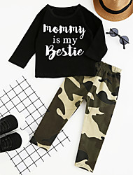 cheap -Toddler Boys' Check Party Daily Going out Geometric Print Long Sleeve Regular Regular Cotton Clothing Set Black