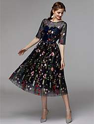 cheap -A-Line Floral Black Holiday Cocktail Party Dress Illusion Neck Half Sleeve Tea Length Organza Satin Chiffon with Embroidery Appliques 2020