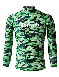 cheap -YON SUB Men's Rash Guard Sun Shirt Swim Shirt Quick Dry UPF50+ Long Sleeve Surfing Beach Watersports Camo / Camouflage Summer / Stretchy