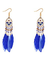 cheap -Cubic Zirconia Drop Earrings Feather Ladies Vintage Bohemian Ethnic Fashion Boho Feather Earrings Jewelry Red / Blue / Royal Blue For Daily Carnival
