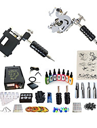 cheap -BaseKey Tattoo Machine Starter Kit - 2 pcs Tattoo Machines with 7 x 15 ml tattoo inks, Professional, Kits Alloy LCD power supply Case Not Included 20 W 1 steel machine liner & shader, 1 rotary