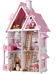 cheap -Dollhouse Dream House DIY Large Hand-made Furniture House Wooden Cotton Cloth ABS Classic Kid's Adults Boys and Girls Toy Gift