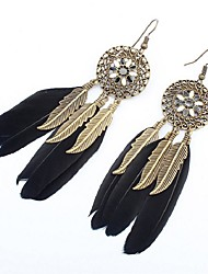 cheap -Synthetic Tanzanite Drop Earrings Feather Ladies Vintage Ethnic Fashion Oversized Native American Feather Earrings Jewelry Green / Blue / Light Pink For Date Street