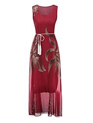 cheap -Women's Basic Shift Dress - Floral Print High Waist / Summer
