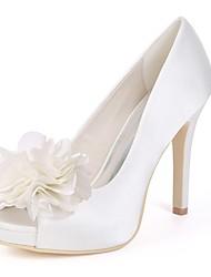 abordables -Femme Chaussures de mariage Talon Aiguille Bout ouvert Satin Escarpin Basique Printemps Blanc / Ivoire