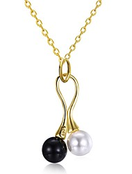cheap -Women's Pearl Freshwater Pearl Pendant Necklace Ladies Unique Design Fashion Pearl Stainless Steel 18K Gold Gold 45+5 cm Necklace Jewelry For Gift Daily