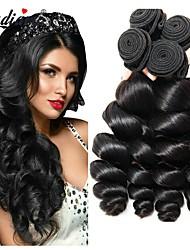 Недорогие -4 Связки Перуанские волосы Свободные волны Не подвергавшиеся окрашиванию 400 g Человека ткет Волосы Удлинитель Накладки из натуральных волос Естественный цвет Ткет человеческих волос / 10A