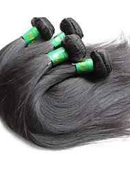 Недорогие -4 Связки Индийские волосы Прямой Не подвергавшиеся окрашиванию человеческие волосы Remy Накладки из натуральных волос Естественный цвет Ткет человеческих волос / 10A