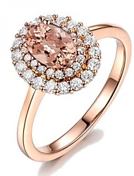 cheap -Women's Engagement Ring Synthetic Diamond Champagne Copper Rhinestone Rose Gold Plated Circle Geometric Ladies Holiday Bling Bling Daily Going out Jewelry Solitaire Oval Cut Simulated Floral