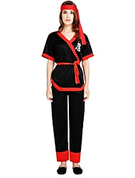 cheap -Ninja Costume Women's Halloween Halloween Carnival Children's Day Festival / Holiday Polyster Black Women's Carnival Costumes Solid Colored Halloween / Top / Headwear