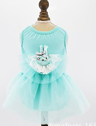 cheap -Dogs Cats Pets Dress Dog Clothes Blue Pink Gray Costume Dalmatian Japanese Spitz Beagle Cotton / Polyester Voiles & Sheers Lace Princess Dresses&Skirts XS S M L XL