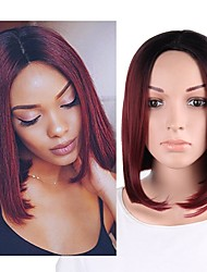 cheap -Synthetic Wig Ombre Highlighted Hair Straight Bob Wig Ombre Short Black / Dark Wine Black / Grey Black / Sapphire Blue Black / Dark Green Black / Pink Synthetic Hair Women's Fashionable Design Soft