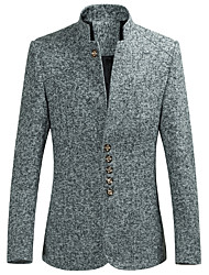 cheap -Men's Party / Daily Spring &  Fall Regular Blazer, Solid Colored Stand Long Sleeve Polyester / Spandex Navy Blue / Gray / Wine