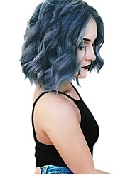 cheap -Synthetic Wig Wavy Bob Pixie Cut Wig Short Sky Blue Synthetic Hair Women's New Arrival Hot Sale African American Wig Blue
