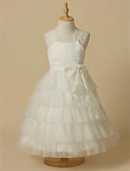 cheap -Ball Gown Ankle Length Flower Girl Dress - Lace / Tulle Sleeveless Straps with Bow(s) / First Communion