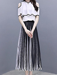cheap -Women's Holiday / Work Street chic / Sophisticated Short Set - Striped, Pleated Skirt Crew Neck / Off Shoulder / Summer / Ruffle / Sexy