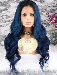 cheap -Remy Human Hair Lace Front Wig Layered Haircut style Brazilian Hair Wavy Blue Wig 130% Density with Baby Hair 100% Virgin Women's Short Medium Length Long Human Hair Lace Wig Luckysnow