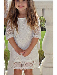 cheap -Kids Toddler Girls' Basic Boho Daily Holiday Solid Colored Floral Lace Cut Out Half Sleeve Above Knee Dress White / Cotton