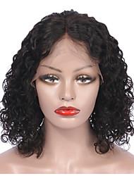 cheap -Remy Human Hair Lace Front Wig Bob Short Bob style Brazilian Hair Curly Wig 130% Density Women's Short Human Hair Lace Wig