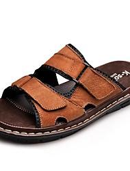 cheap -Men's Comfort Shoes Cowhide Summer / Fall Classic / Vintage Sandals Breathable Black / Brown