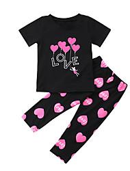 Недорогие -Дети (1-4 лет) Девочки Активный Классический Повседневные Спорт С принтом С принтом С короткими рукавами Обычный Обычная Хлопок Набор одежды Черный