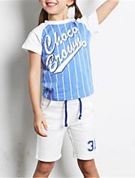 cheap -Kids Unisex Basic Color Block Short Sleeve Clothing Set Black