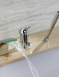 cheap -Bathtub Faucet Chrome Roman Tub Ceramic Valve Bath Shower Mixer Taps / Single Handle Three Holes