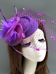 cheap -Feather / Net Fascinators / Hats / Headwear with Feather / Floral / Flower 1pc Wedding / Special Occasion / Horse Race Headpiece