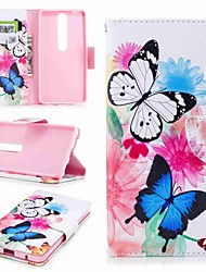 cheap -Case For Nokia Nokia 8 / Nokia 6 / Nokia 6 2018 Wallet / Card Holder / with Stand Full Body Cases Butterfly Hard PU Leather