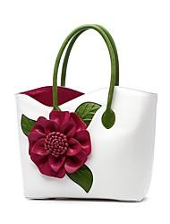 Недорогие -Жен. Аппликации / Цветы PU Сумка-шоппер Цветочный принт Черный / Белый / Лиловый