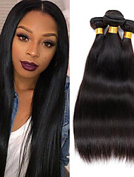 cheap -4 Bundles Brazilian Hair Straight Virgin Human Hair Natural Color Hair Weaves / Hair Bulk 8-26 inch Human Hair Weaves 8a Human Hair Extensions / 10A