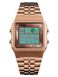 Недорогие -SKMEI Муж. электронные часы Японский Цифровой Нержавеющая сталь Черный / Серебристый металл / Золотистый 30 m Защита от влаги Будильник Календарь Цифровой На каждый день Мода -  / Один год