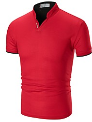 cheap -Men's Solid Colored Patchwork Polo - Cotton Basic Daily V Neck White / Black / Red / Green / Gray / Summer / Short Sleeve
