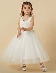 cheap -A-Line Knee Length Flower Girl Dress - Lace / Tulle Sleeveless V Neck with Bow(s) by LAN TING BRIDE®