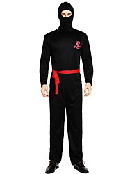 cheap -Ninja Costume Men's Adults' Halloween Halloween Carnival Children's Day Festival / Holiday Polyster Outfits Black Solid Colored Halloween