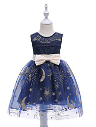 cheap -Kids Girls' Vintage Street chic Daily Going out Solid Colored Print Sleeveless Dress Navy Blue / Cotton