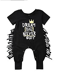 cheap -Baby Unisex Basic / Punk & Gothic Daily / Going out Solid Colored / Print Tassel / Stylish / Print Short Sleeves Cotton Overall & Jumpsuit Black