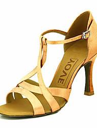 cheap -Women's Dance Shoes Satin Latin Shoes / Ballroom Shoes Heel Customized Heel Customizable Yellow / Fuchsia / Purple / Leather / EU41