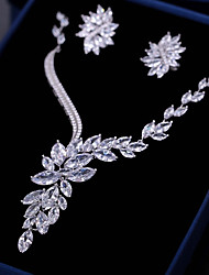 cheap -Women's Cubic Zirconia Jewelry Set Drop Earrings Pendant Necklace Mismatched Leaf Flower Fashion Earrings Jewelry White For Wedding Engagement