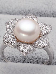 cheap -Women's Band Ring Pearl Freshwater Pearl Silver Pearl Stainless Steel S925 Sterling Silver Ladies Natural Fashion Birthday Daily Jewelry Flower