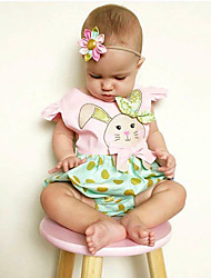 cheap -Baby Girls' Active Daily / Holiday Polka Dot / Print / Color Block Fairytale Theme / Polka Dots / Animal Pattern Short Sleeves Bodysuit Green / Cute / Toddler