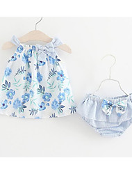 cheap -Baby Girls' Cute / Active Daily / Holiday Floral Bow / Print Sleeveless Regular Regular Cotton Clothing Set Blue / Toddler