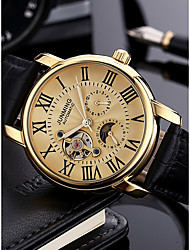 cheap -Men's Dress Watch Military Watch Aviation Watch Japanese Automatic self-winding Genuine Leather Black 30 m 50 m Calendar / date / day Chronograph Hollow Engraving Analog Luxury Classic Fashion -